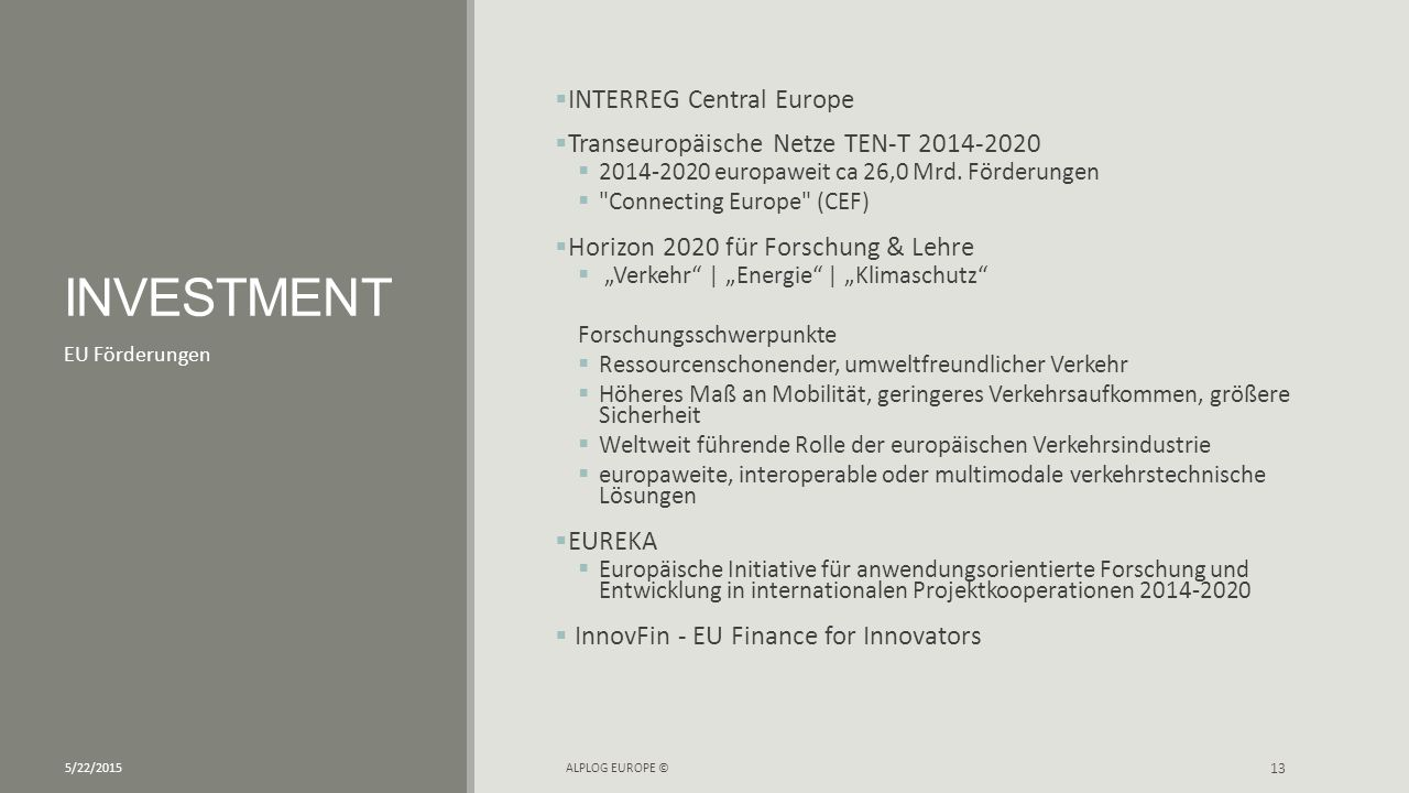 INVESTMENT INTERREG Central Europe