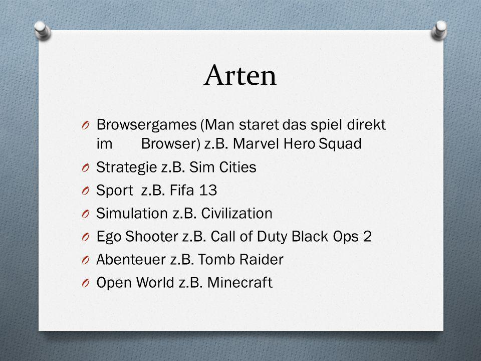 Arten Browsergames (Man staret das spiel direkt im Browser) z.B. Marvel Hero Squad. Strategie z.B. Sim Cities.