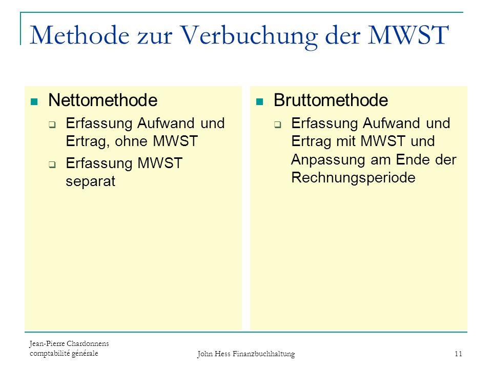 Methode zur Verbuchung der MWST