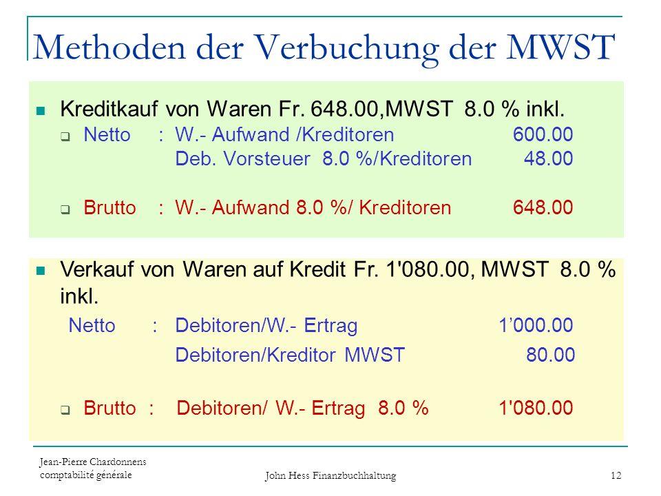 Methoden der Verbuchung der MWST
