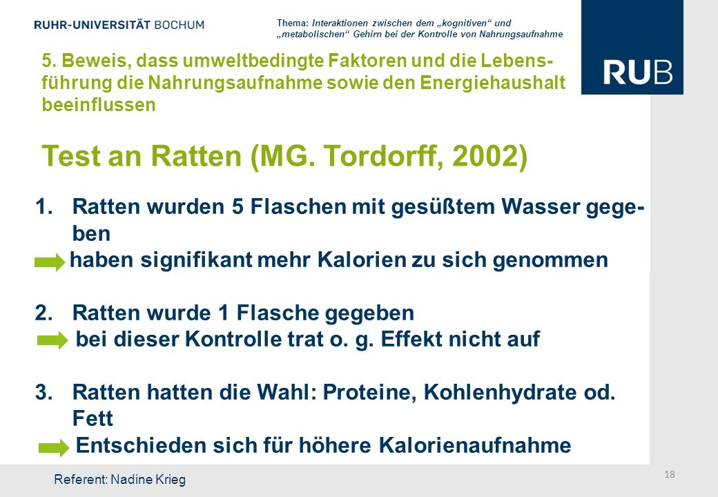 Test an Ratten (MG. Tordorff, 2002)