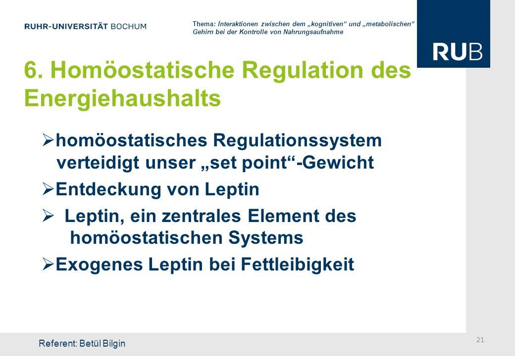 6. Homöostatische Regulation des Energiehaushalts