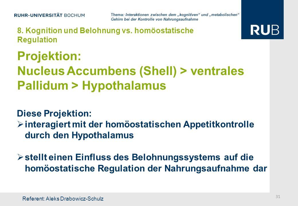 Nucleus Accumbens (Shell) > ventrales Pallidum > Hypothalamus