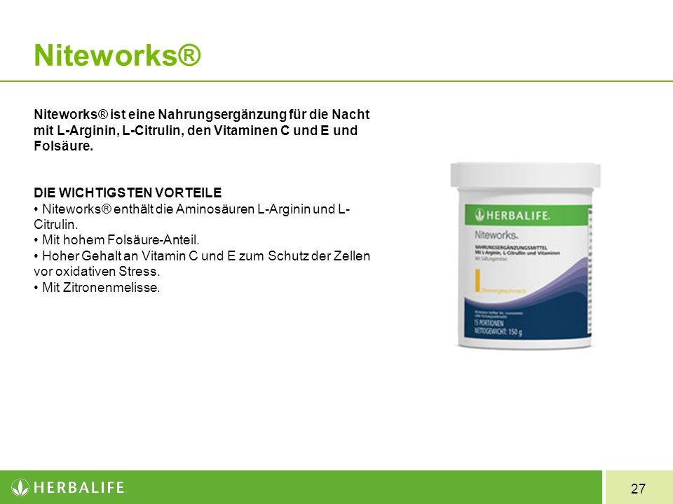 Niteworks® Niteworks® ist eine Nahrungsergänzung für die Nacht mit L-Arginin, L-Citrulin, den Vitaminen C und E und Folsäure.
