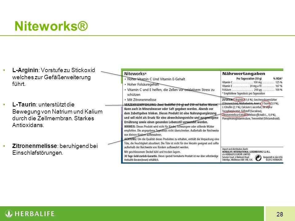 Niteworks® L-Arginin: Vorstufe zu Stickoxid welches zur Gefäßerweiterung führt.