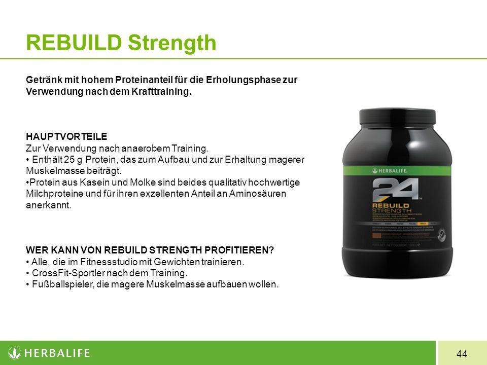 REBUILD Strength Getränk mit hohem Proteinanteil für die Erholungsphase zur Verwendung nach dem Krafttraining.