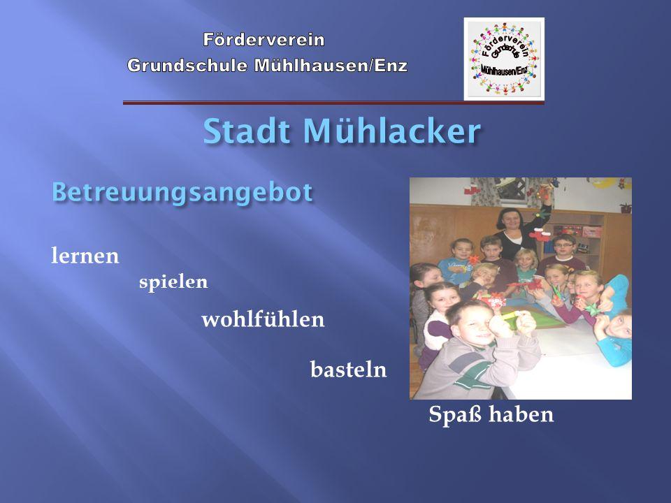 Stadt Mühlacker Betreuungsangebot lernen spielen wohlfühlen basteln