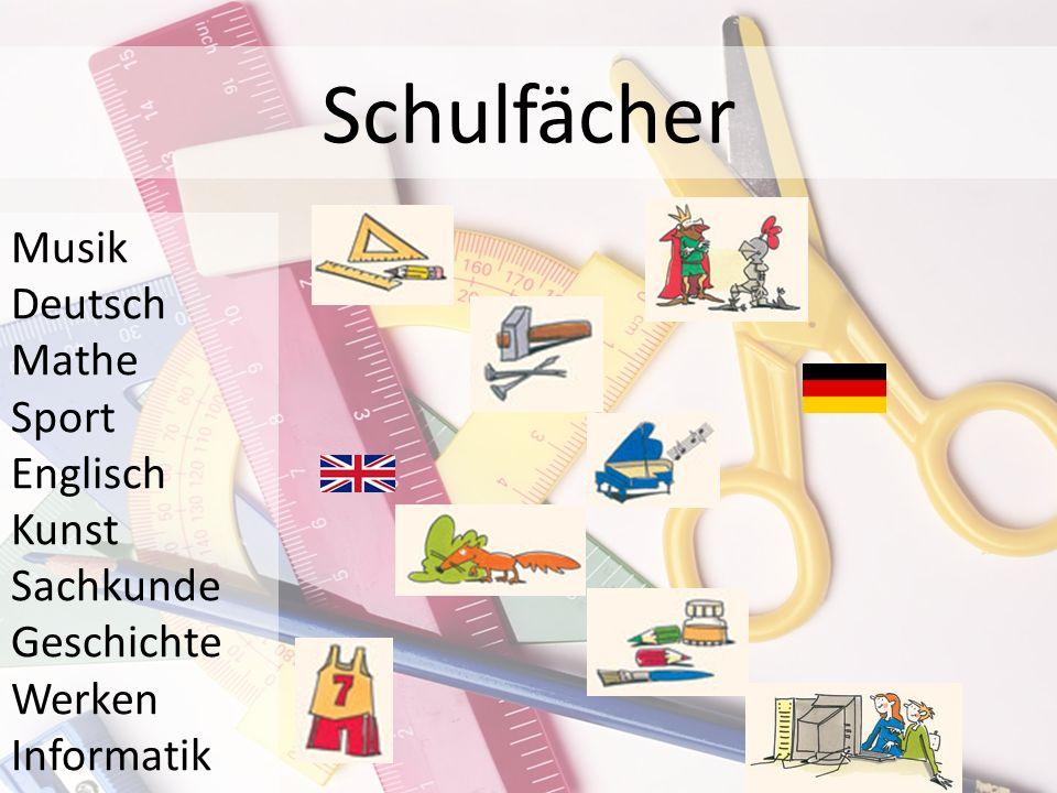 Schulfächer Musik Deutsch Mathe Sport Englisch Kunst Sachkunde