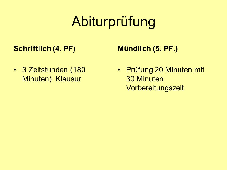 Abiturprüfung Schriftlich (4. PF) Mündlich (5. PF.)