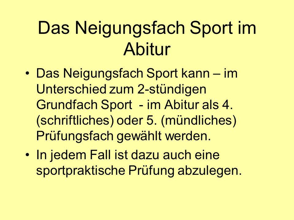 Das Neigungsfach Sport im Abitur