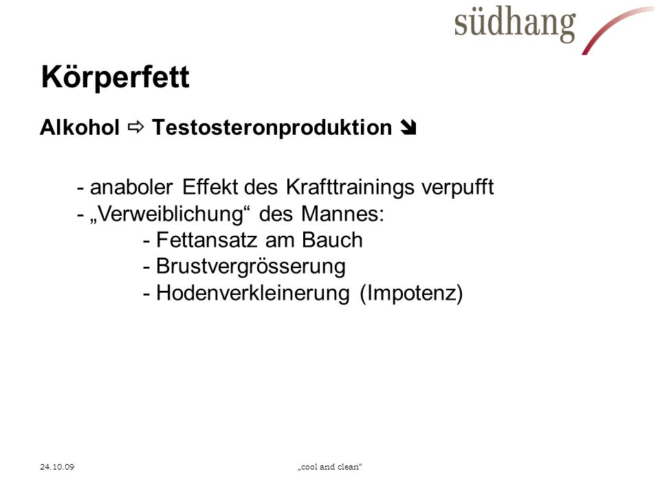 Körperfett Alkohol  Testosteronproduktion 