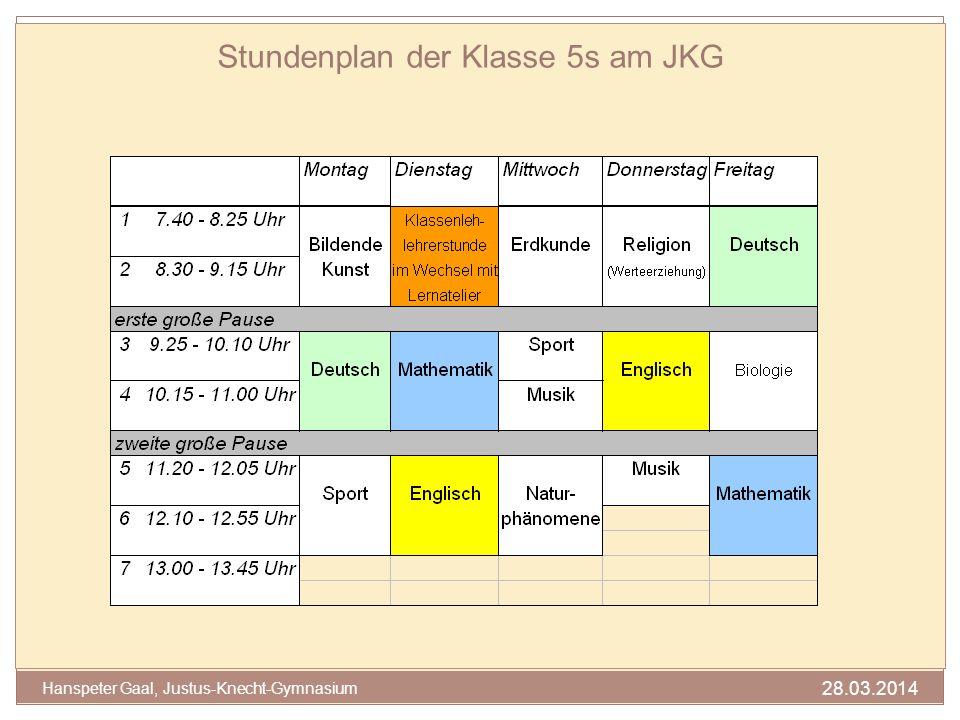 Stundenplan der Klasse 5s am JKG