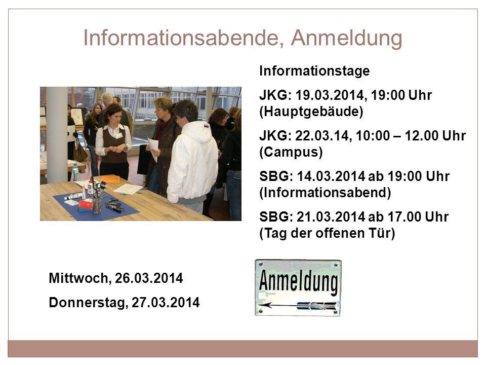 Informationsabende, Anmeldung