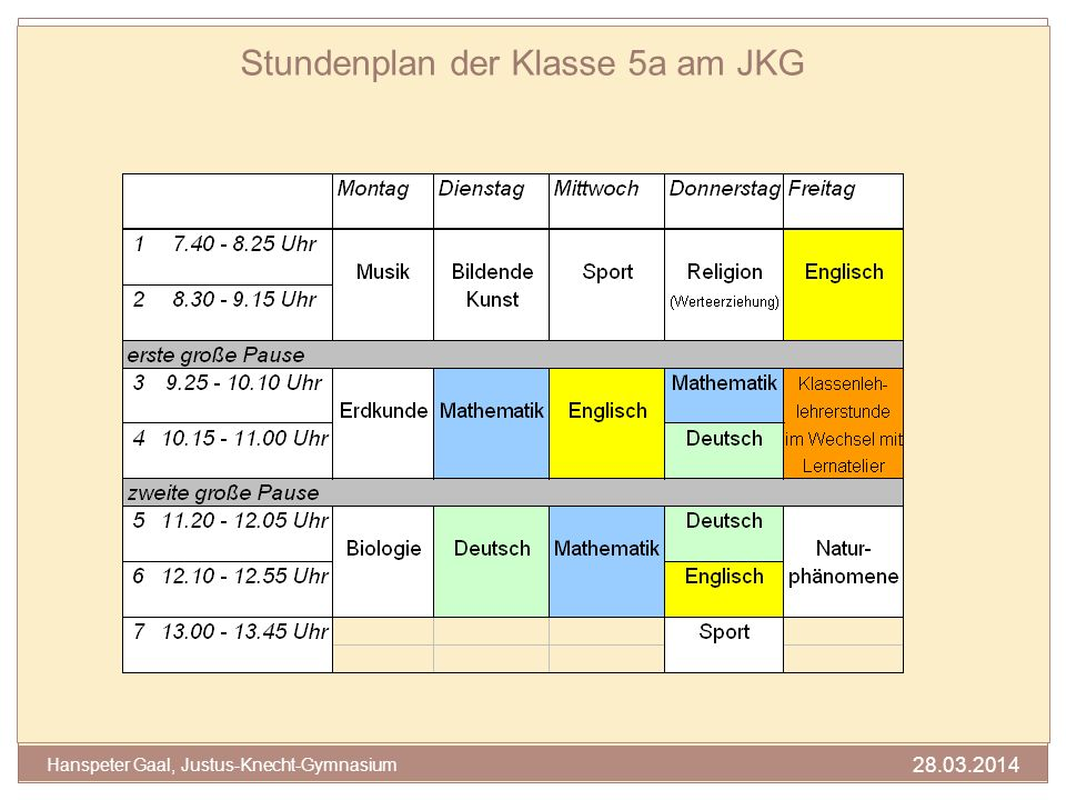 Stundenplan der Klasse 5a am JKG