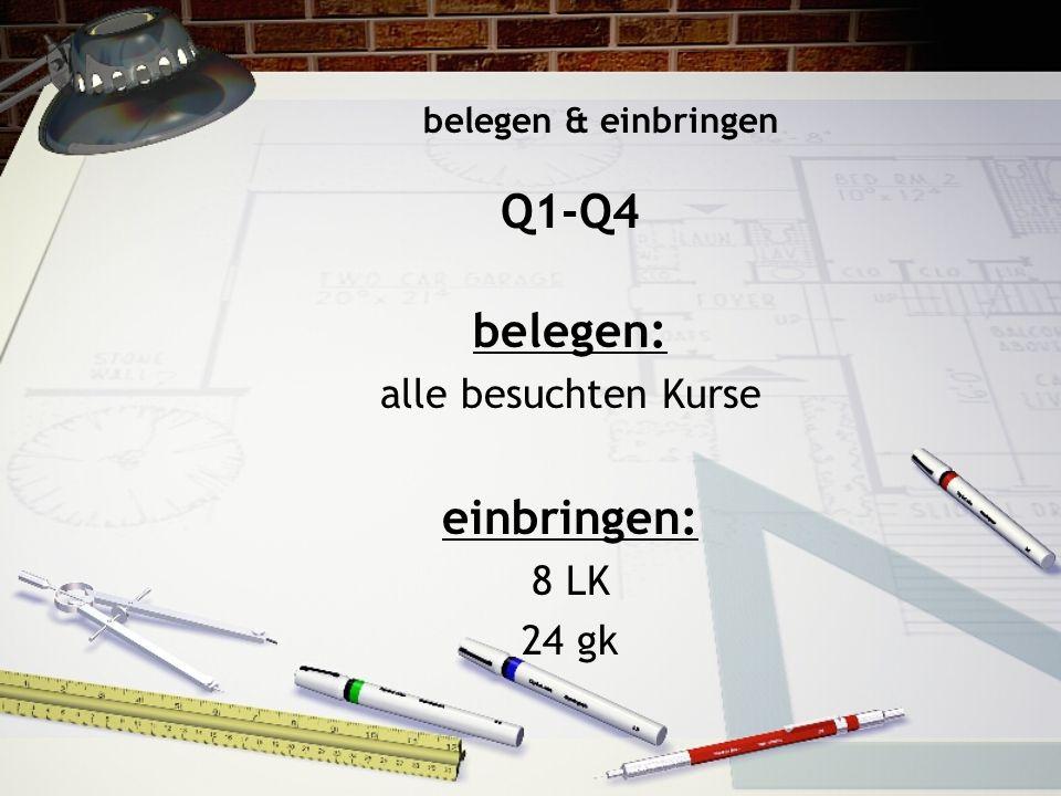 Q1-Q4 belegen: alle besuchten Kurse einbringen: 8 LK 24 gk