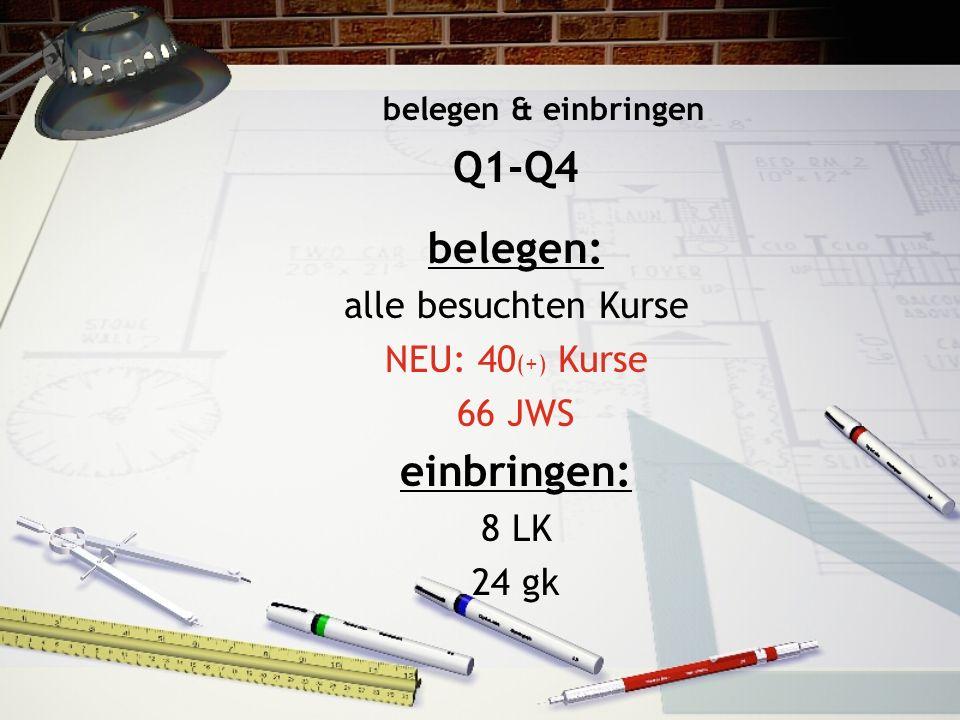 Q1-Q4 belegen: einbringen: alle besuchten Kurse NEU: 40(+) Kurse