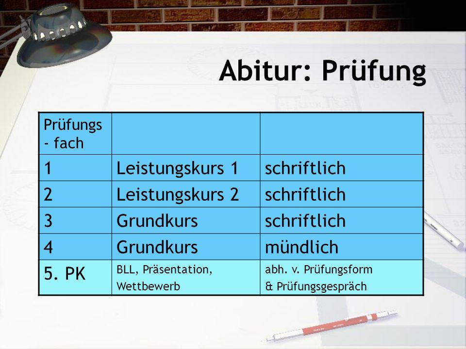 Abitur: Prüfung 1 Leistungskurs 1 schriftlich 2 Leistungskurs 2 3