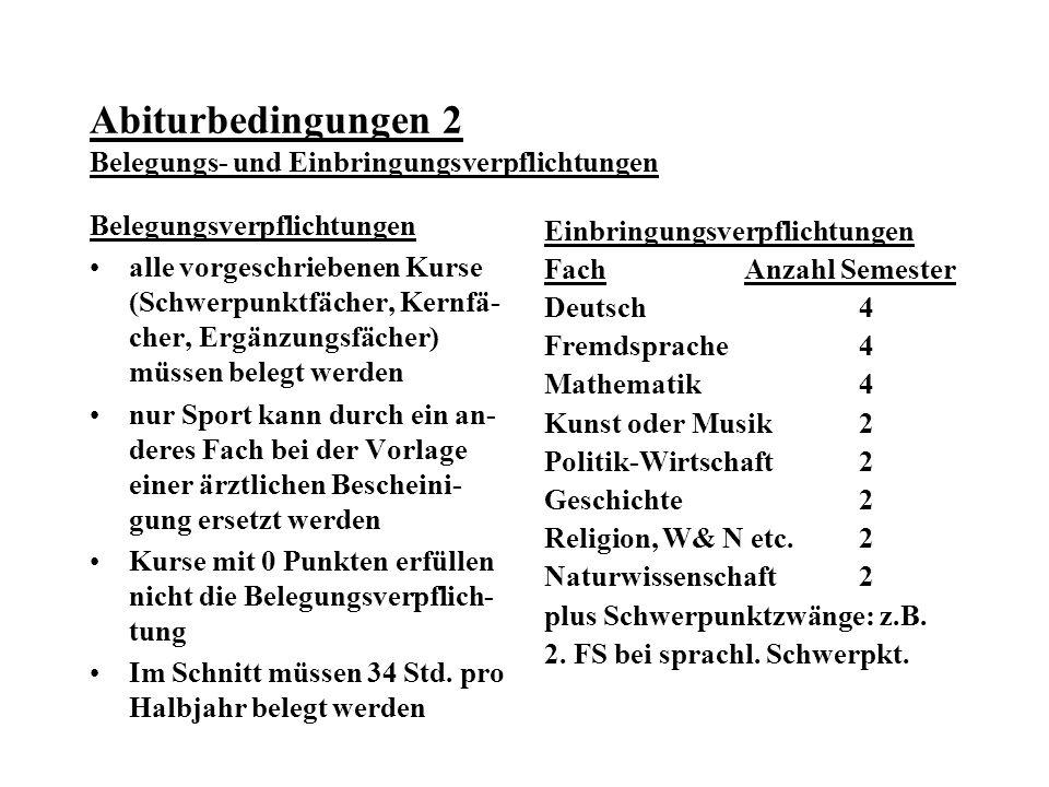 Abiturbedingungen 2 Belegungs- und Einbringungsverpflichtungen