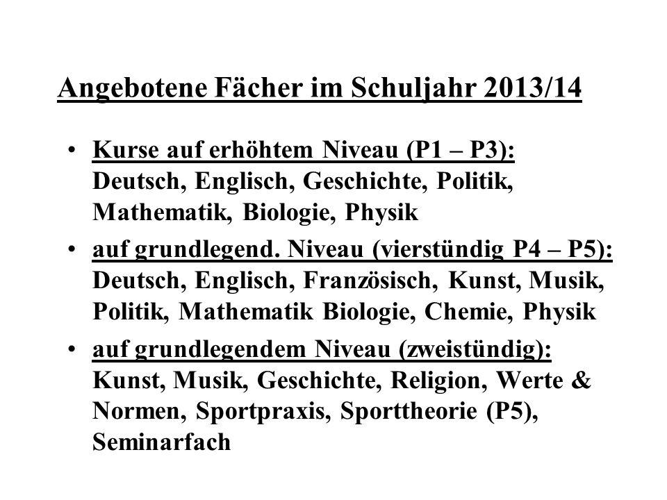Angebotene Fächer im Schuljahr 2013/14