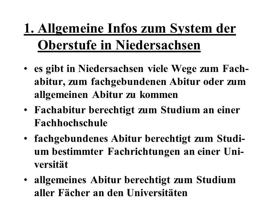 1. Allgemeine Infos zum System der Oberstufe in Niedersachsen