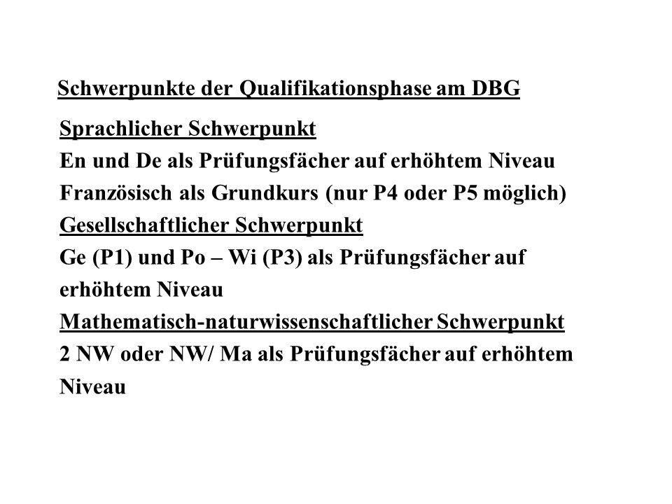 Schwerpunkte der Qualifikationsphase am DBG