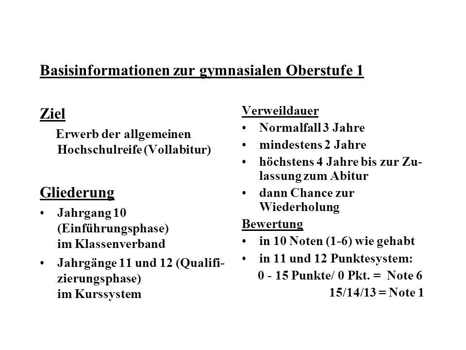 Basisinformationen zur gymnasialen Oberstufe 1