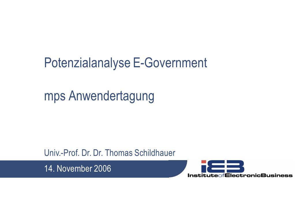 Potenzialanalyse E-Government mps Anwendertagung