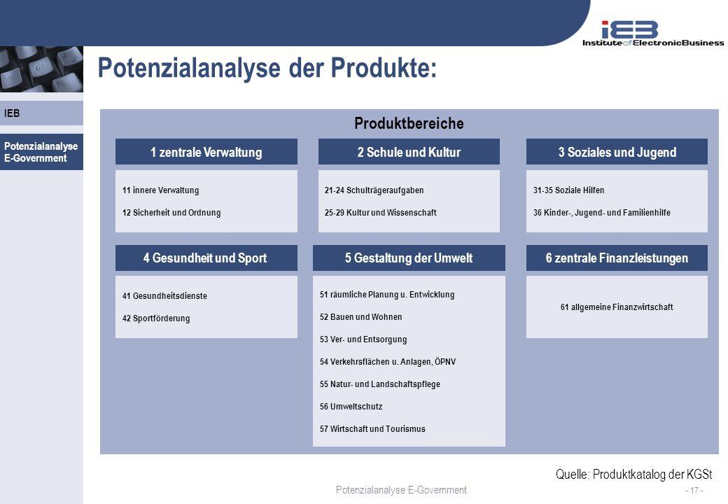 Potenzialanalyse der Produkte: