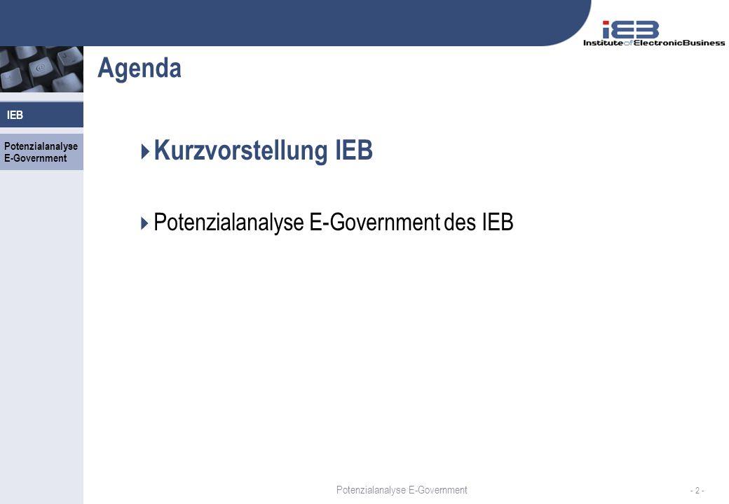 Agenda Kurzvorstellung IEB Potenzialanalyse E-Government des IEB IEB