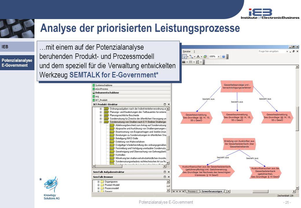 Analyse der priorisierten Leistungsprozesse