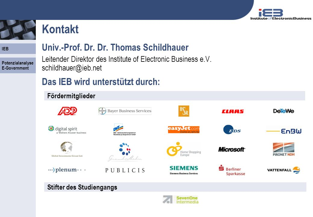 Kontakt Univ.-Prof. Dr. Dr. Thomas Schildhauer