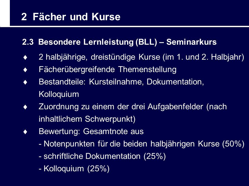2 Fächer und Kurse 2.3 Besondere Lernleistung (BLL) – Seminarkurs