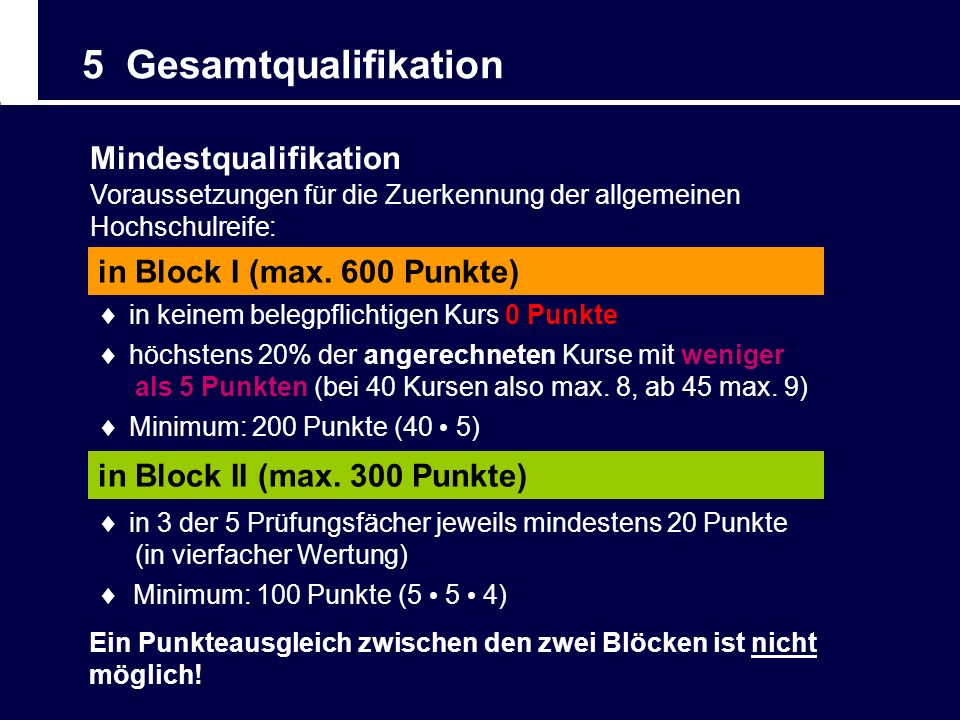 5 Gesamtqualifikation Mindestqualifikation