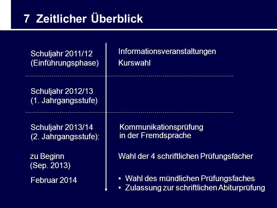 7 Zeitlicher Überblick Informationsveranstaltungen Schuljahr 2011/12