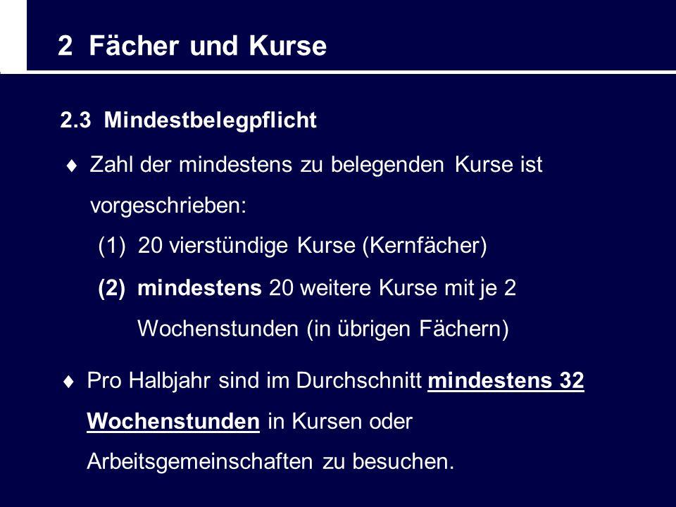 2 Fächer und Kurse 2.3 Mindestbelegpflicht