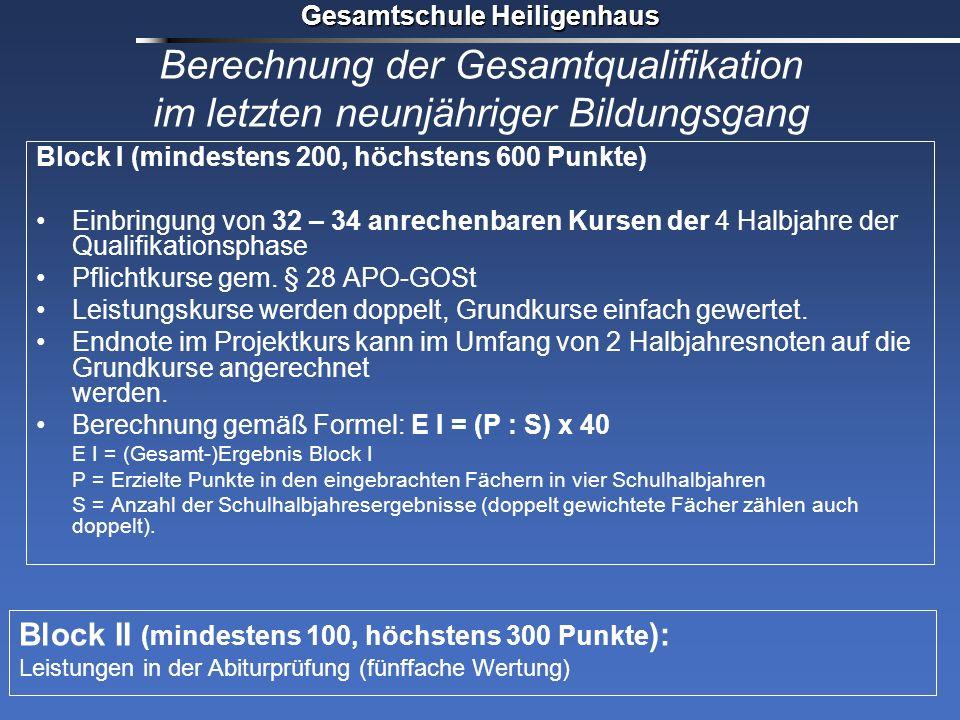 Berechnung der Gesamtqualifikation im letzten neunjähriger Bildungsgang