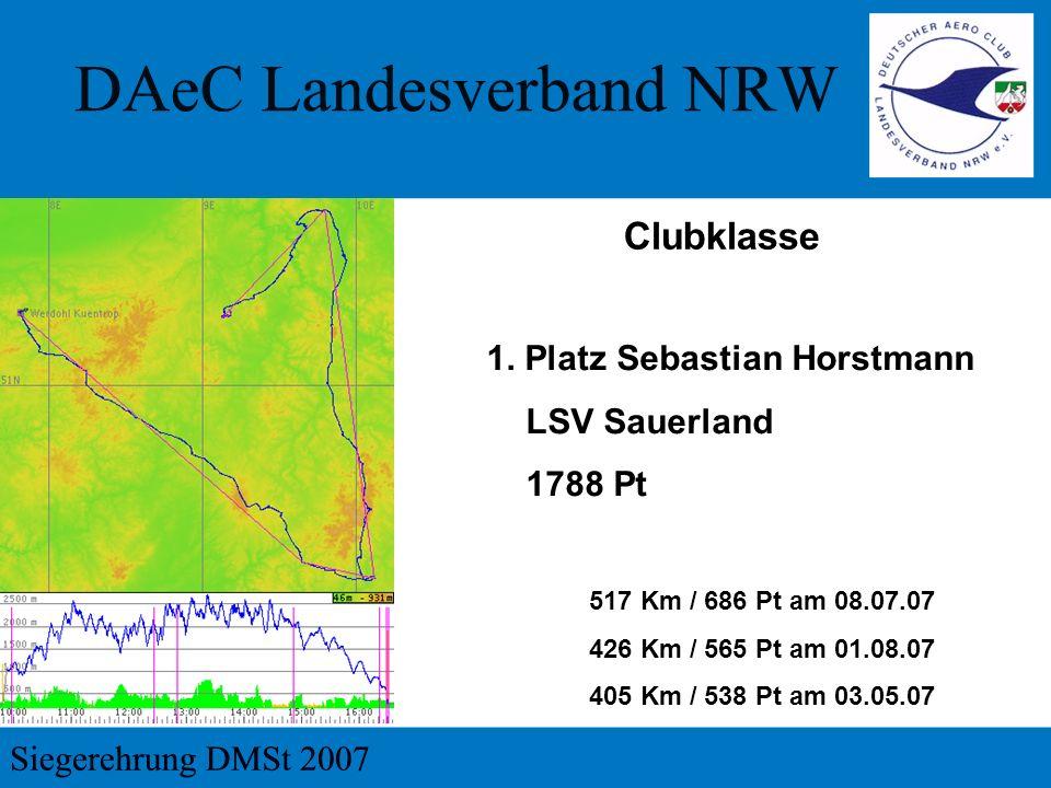 Clubklasse 1. Platz Sebastian Horstmann LSV Sauerland 1788 Pt