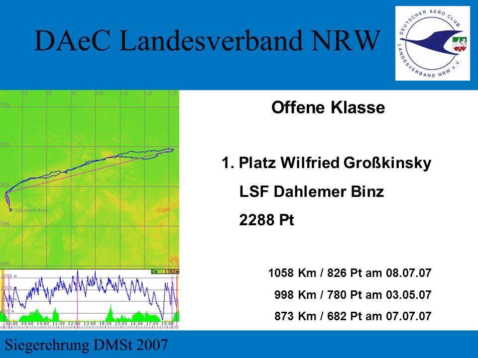 Offene Klasse 1. Platz Wilfried Großkinsky LSF Dahlemer Binz 2288 Pt
