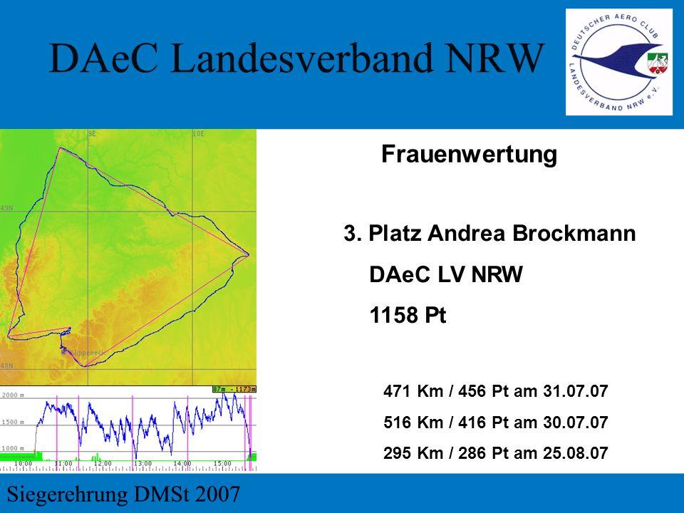 Frauenwertung 3. Platz Andrea Brockmann DAeC LV NRW 1158 Pt