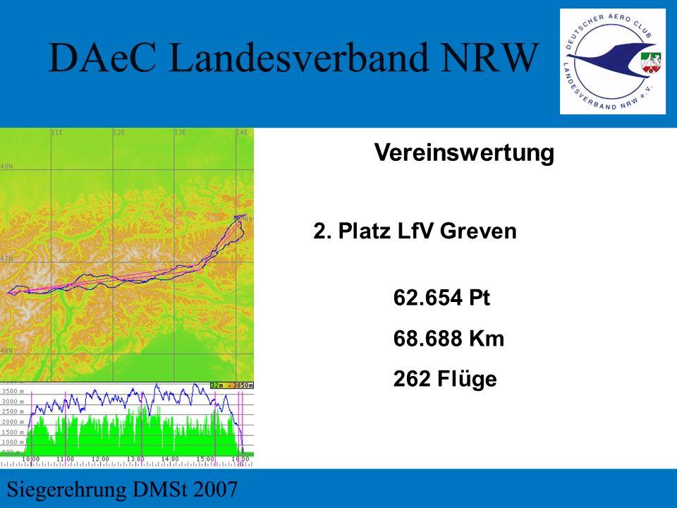 Vereinswertung 2. Platz LfV Greven 62.654 Pt 68.688 Km 262 Flüge