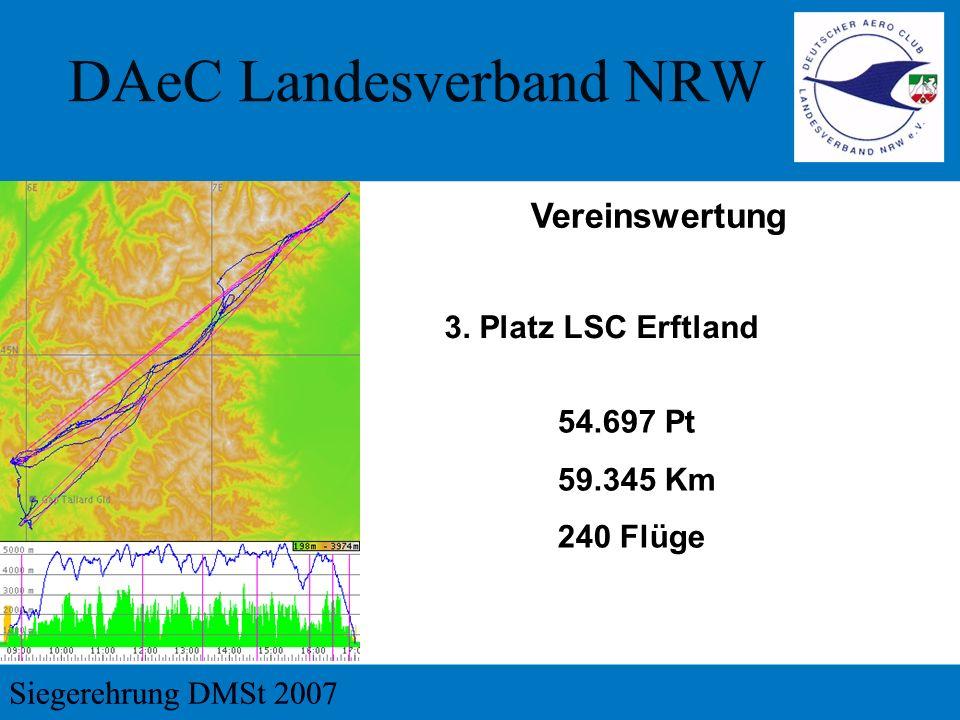 Vereinswertung 3. Platz LSC Erftland 54.697 Pt 59.345 Km 240 Flüge