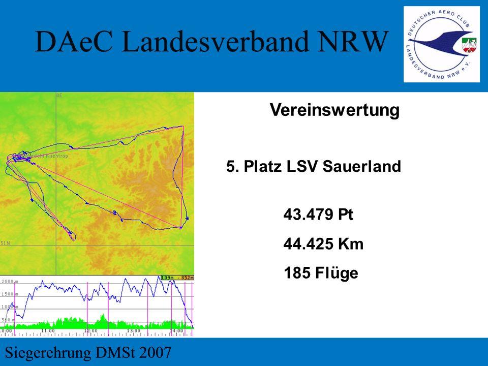Vereinswertung 5. Platz LSV Sauerland 43.479 Pt 44.425 Km 185 Flüge