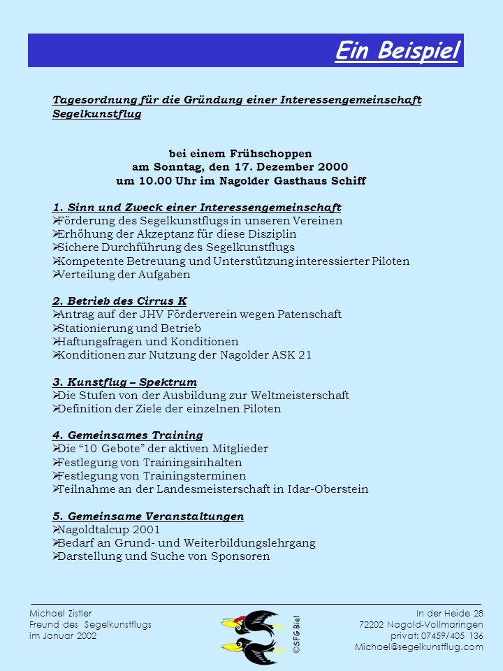 Ein BeispielTagesordnung für die Gründung einer Interessengemeinschaft Segelkunstflug.