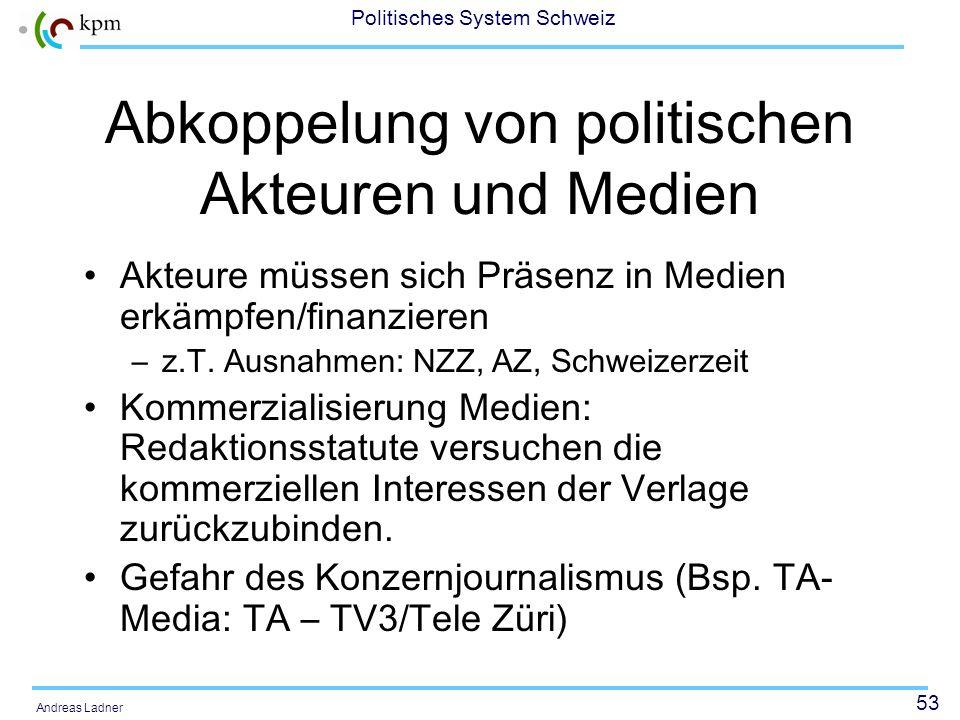 Abkoppelung von politischen Akteuren und Medien