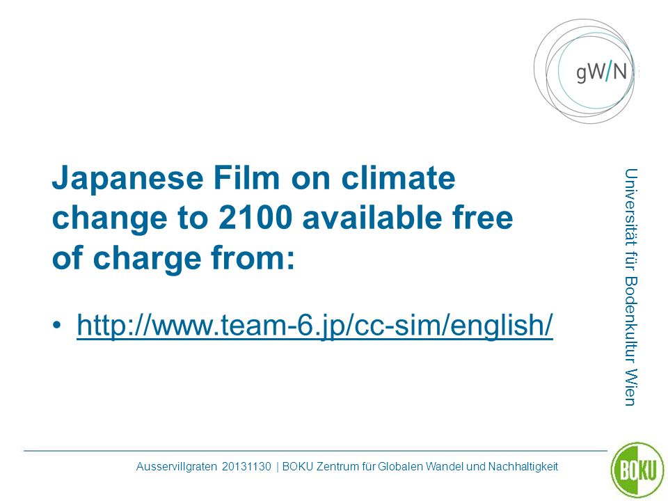 Japanese Film on climate change to 2100 available free of charge from: