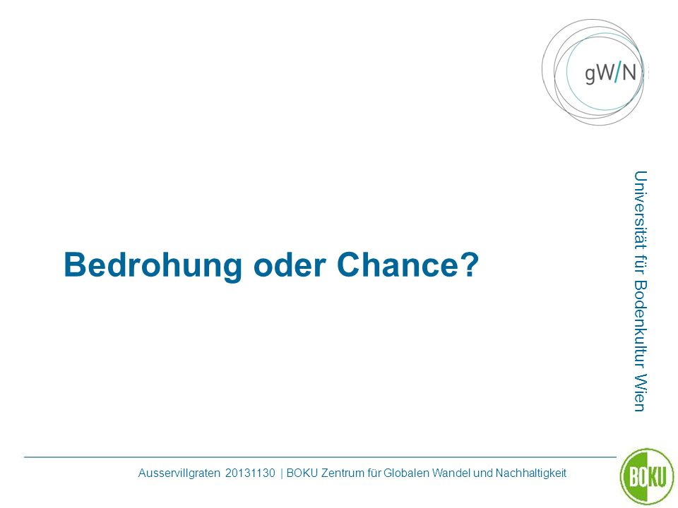 Bedrohung oder Chance.
