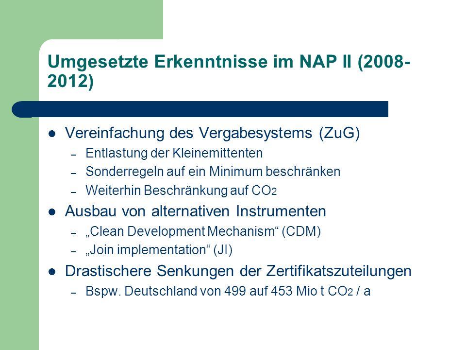 Umgesetzte Erkenntnisse im NAP II (2008-2012)