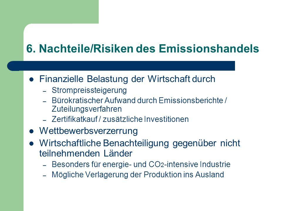 6. Nachteile/Risiken des Emissionshandels