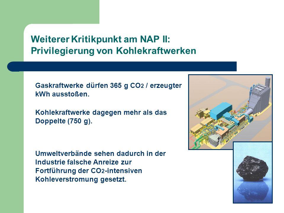 Weiterer Kritikpunkt am NAP II: Privilegierung von Kohlekraftwerken