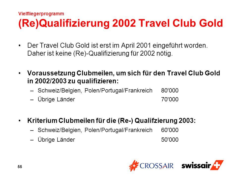 Vielfliegerprogramm (Re)Qualifizierung 2002 Travel Club Gold